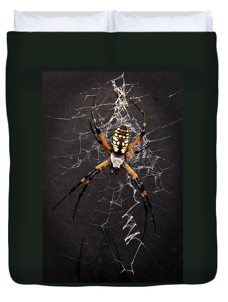 Garden Spider And Web Duvet Cover by Tamyra Ayles