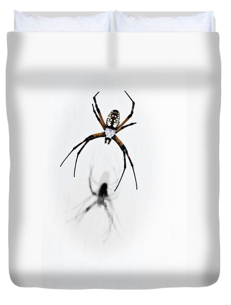 Garden Spider With Shadow Duvet Cover by Tamyra Ayles
