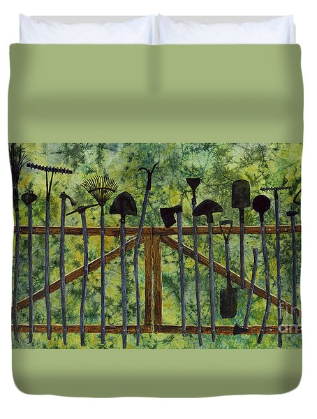 Duvet Cover featuring the painting Garden Tools by Hailey E Herrera