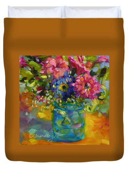 Duvet Cover featuring the painting Garden Treasures by Chris Brandley