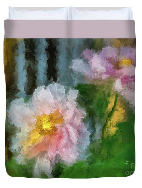 Duvet Cover featuring the digital art Garden Variety by Lois Bryan