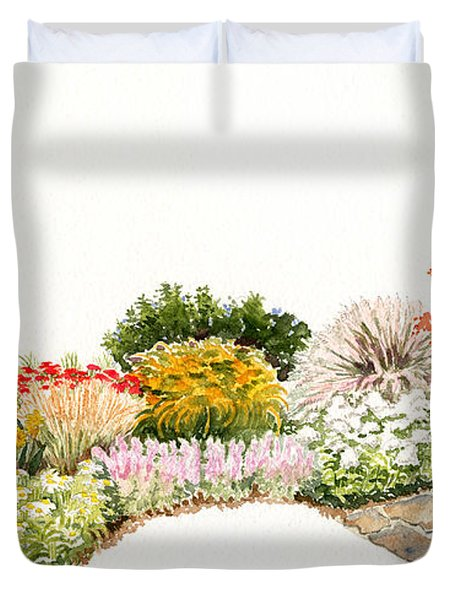 Garden Wild Flowers Watercolor Duvet Cover
