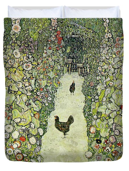 Garden With Chickens Duvet Cover