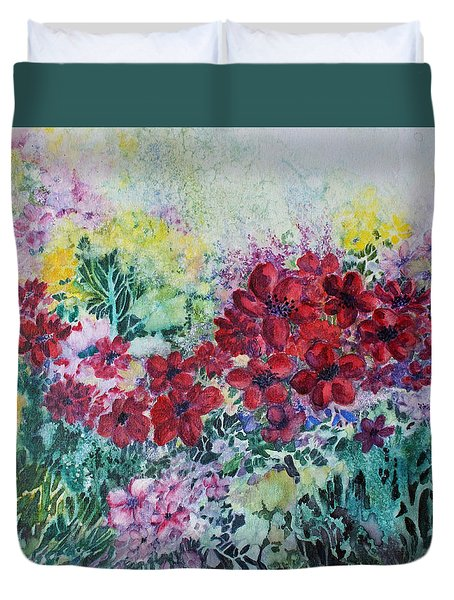 Garden With Reds Duvet Cover by Joanne Smoley