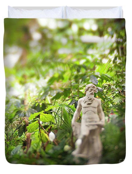 Duvet Cover featuring the photograph Garden Zeus by Heather Green
