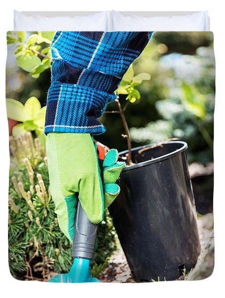 Gardener Digging With A Shovel. Duvet Cover