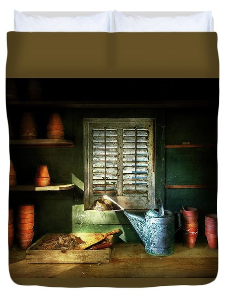 Duvet Cover featuring the photograph Gardener - The Potters Shed by Mike Savad