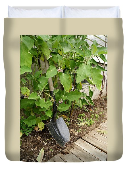 Duvet Cover featuring the photograph Gardener's Shovel by Margie Avellino