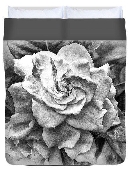 Duvet Cover featuring the photograph Gardenia Black And White by Barbara Middleton