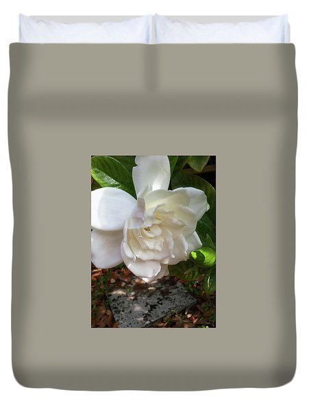 Duvet Cover featuring the photograph Gardenia Blossom by Ginny Schmidt