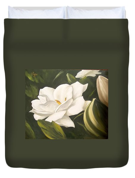 Duvet Cover featuring the painting Gardenia by Natalia Tejera