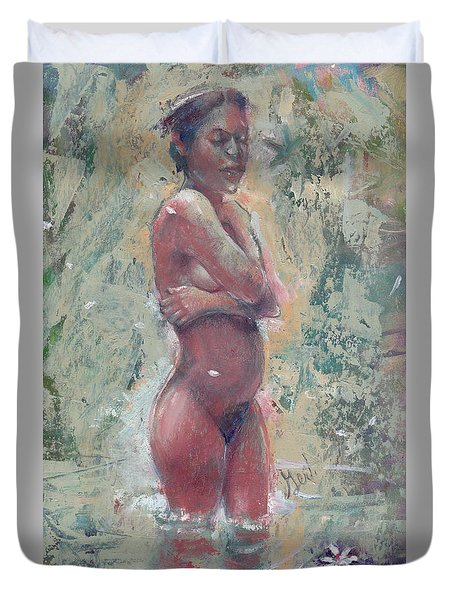 Gardenia Negra Duvet Cover by Gertrude Palmer