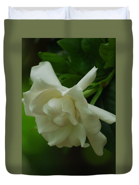 Duvet Cover featuring the photograph Gardenia by Ramona Whiteaker