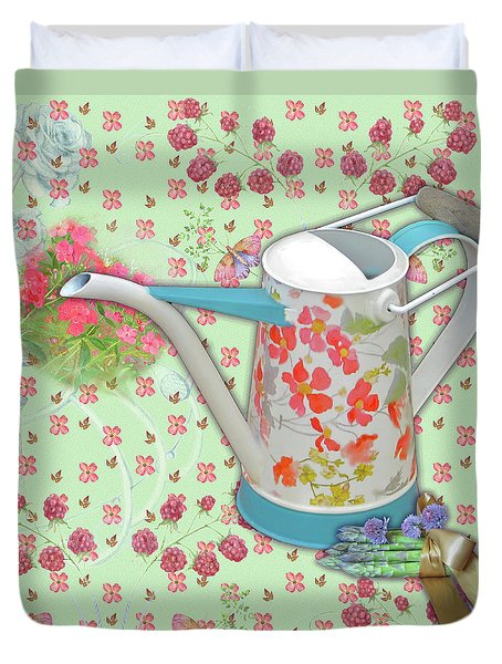 Duvet Cover featuring the mixed media Gardening Gifts by Nancy Lee Moran