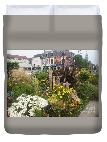 Duvet Cover featuring the photograph Gardens At Albert Train Station In France by Therese Alcorn