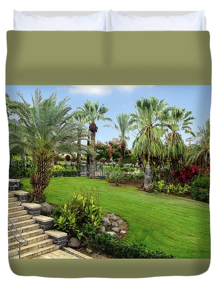Gardens At Mount Of Beatitudes Israel Duvet Cover