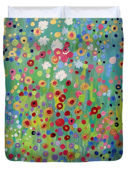 Duvet Cover featuring the painting Garden's Dance by Stacey Zimmerman