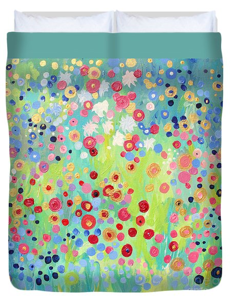Duvet Cover featuring the painting Garden's Delight by Stacey Zimmerman