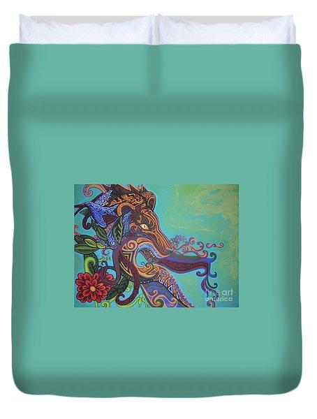 Gargoyle Lion Duvet Cover by Genevieve Esson