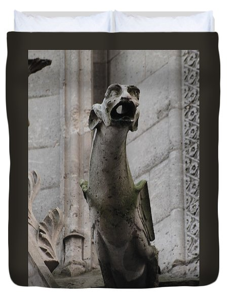 Duvet Cover featuring the photograph Gargoyle Notre Dame by Christopher Kirby