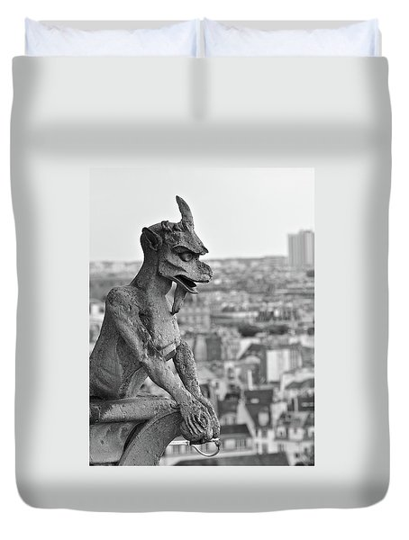 Gargoyle Over Paris Duvet Cover