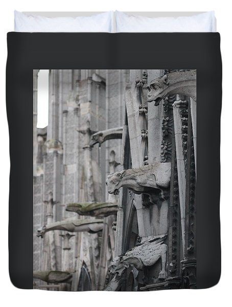 Duvet Cover featuring the photograph Gargoyles North Notre Dame by Christopher Kirby