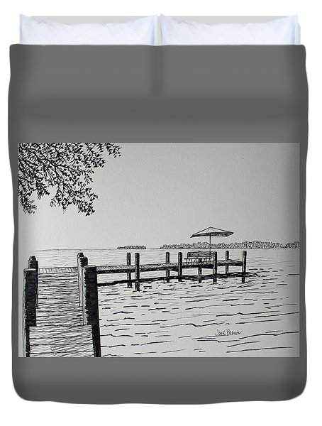 Garlic Island Lake Winnebago Duvet Cover