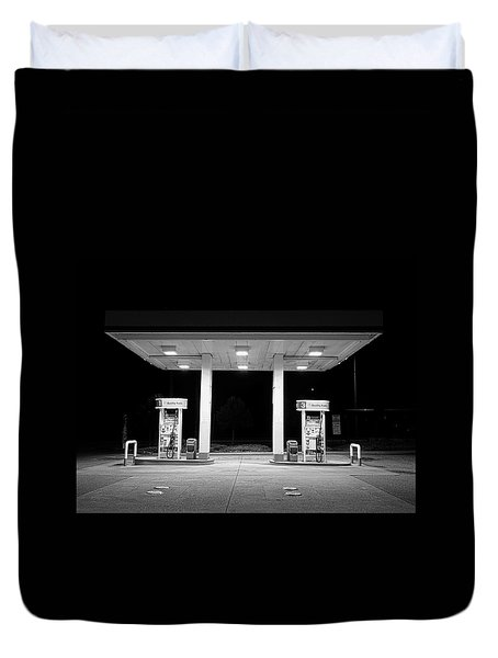 Gas At Night Duvet Cover by John Rossman