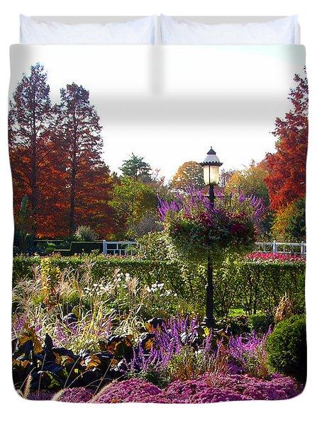 Gas Lamp In Garden Duvet Cover by John Lautermilch
