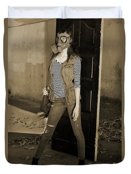 Gas Mask Girl  Duvet Cover by Pamela Patch
