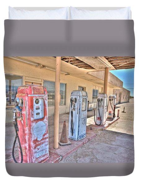 Gas Pumps Duvet Cover by Matthew Bamberg