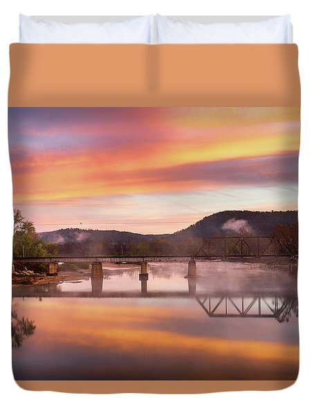Gasconade River Sunrise Duvet Cover by Jae Mishra