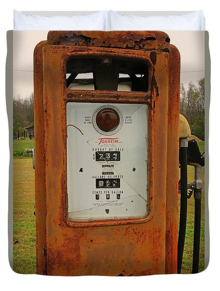 Gasoline Pump Duvet Cover by Ronald Olivier