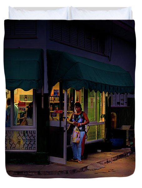 Gasolinera Linea Y Calle E Havana Cuba Duvet Cover by Charles Harden