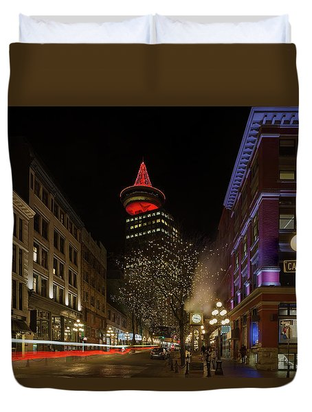 Gastown In Vancouver Bc At Night Duvet Cover