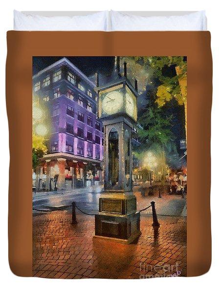 Duvet Cover featuring the digital art Gastown Sreamclock 1 by Jim  Hatch