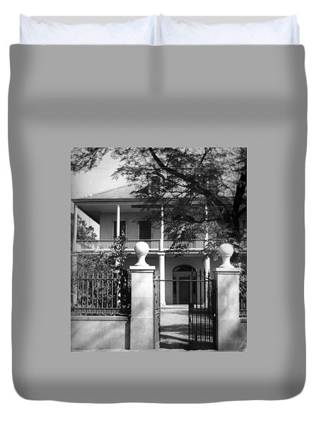 Gated Colonial Home Duvet Cover