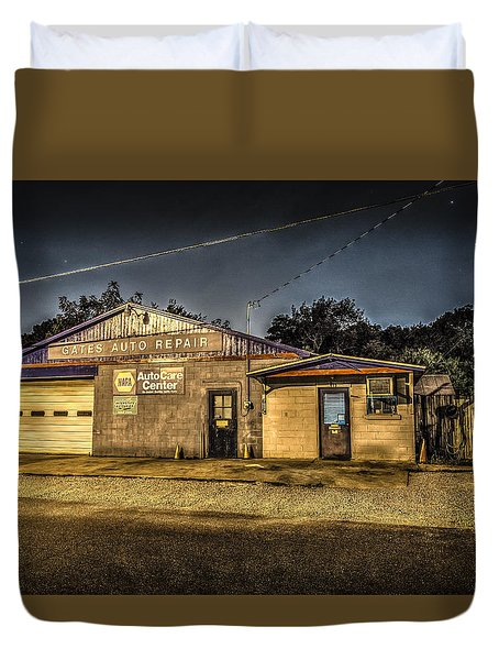 Gates Auto Repair Duvet Cover
