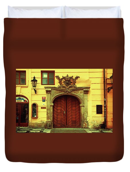 Duvet Cover featuring the photograph Gates Of Sun. Series Golden Prague by Jenny Rainbow