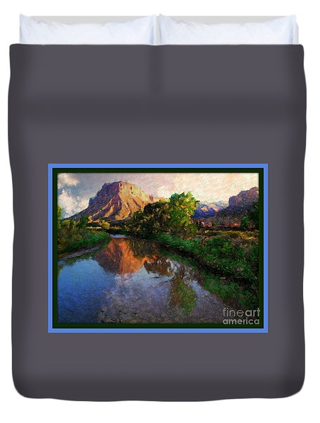 Gateway Colorado Mesa By River Duvet Cover by Annie Gibbons