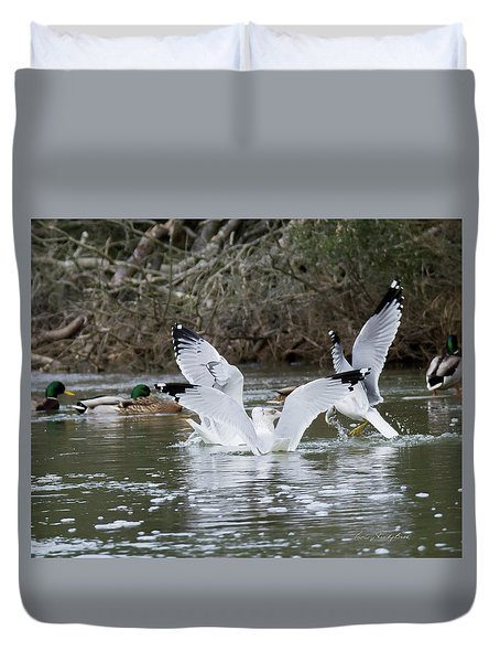 Duvet Cover featuring the photograph Gathering Of Egrets by George Randy Bass