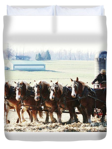 Gathering Up The Hay With A Six Horse Teamin Lancaster County Pennsylvania Duvet Cover