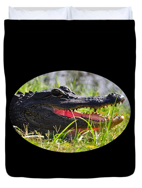 Duvet Cover featuring the photograph Gator Grin .png by Al Powell Photography USA