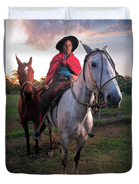 Duvet Cover featuring the photograph Gaucho Argentino by Bernardo Galmarini