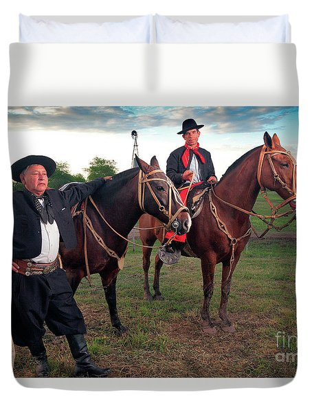 Duvet Cover featuring the photograph Gauchos by Bernardo Galmarini