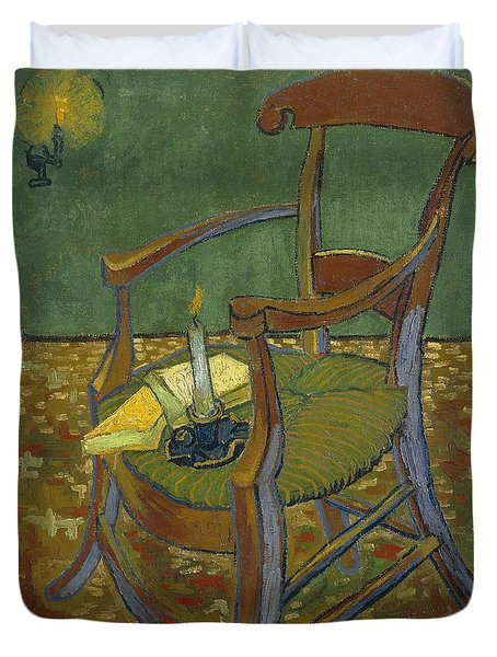 Duvet Cover featuring the painting Gauguin's Chair by Van Gogh