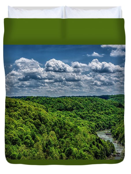 Gauley River Canyon And Clouds Duvet Cover