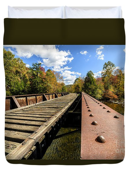 Gauley River Railroad Trestle Duvet Cover by Thomas R Fletcher