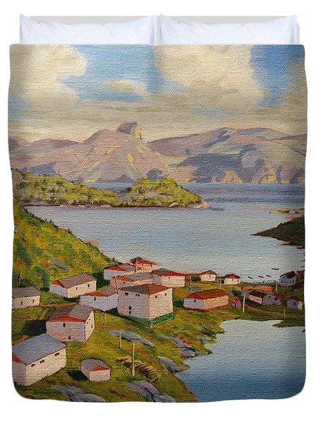 Gaultois Village Newfoundland Duvet Cover