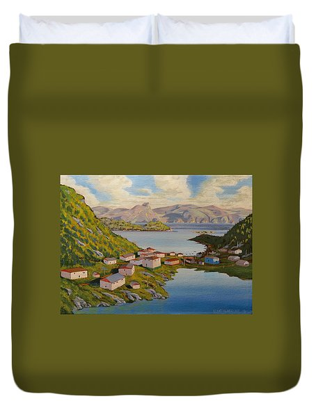 Gaultois Village Newfoundland Duvet Cover by David Gilmore